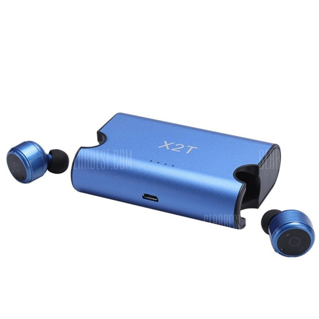 1c875bfe5bd $24 with coupon for True Wireless Earbuds Twins X2T Mini Bluetooth CSR4.2  Earphone Stereo with Magnetic Charger Box Case – BLUE from GearBest