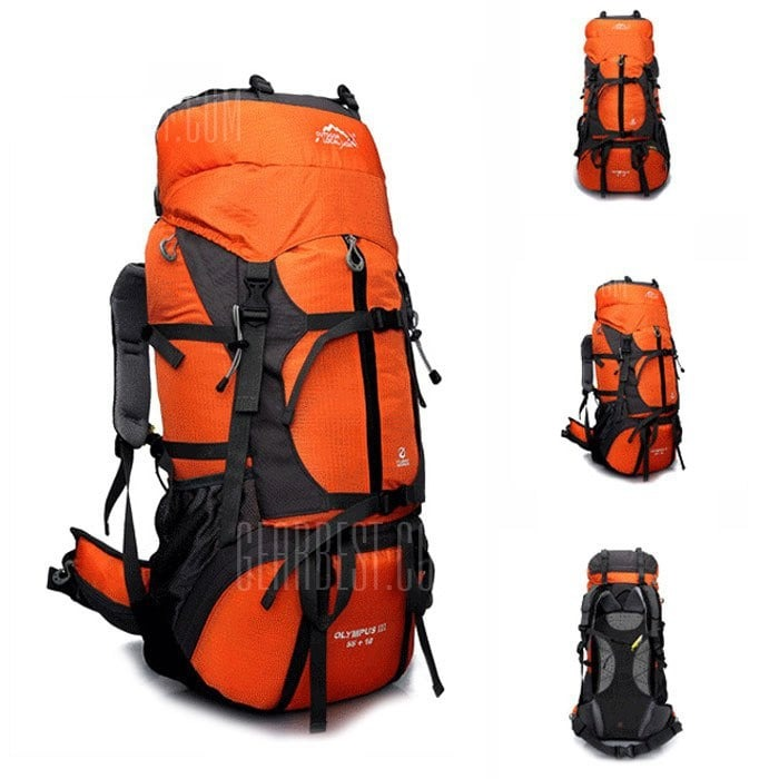 39 With Coupon For Local Lion 60l Water Resistant Trekking Backpack Orange From Gearbest