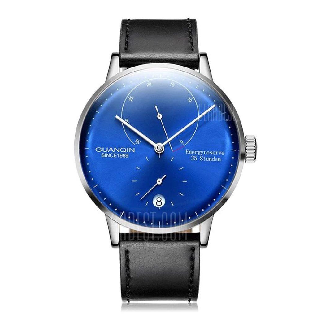 89 con cupón para GUANQIN Men Leather Band reloj mecánico automático ...