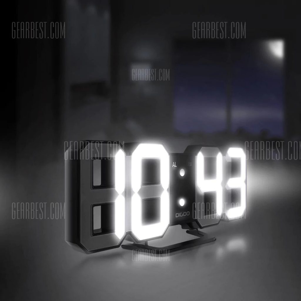 17 With Coupon For 3d Led Digital Alarm Clock Night Light Black Lamp Display Large Function Time Snooze Function5 60minutes Mode