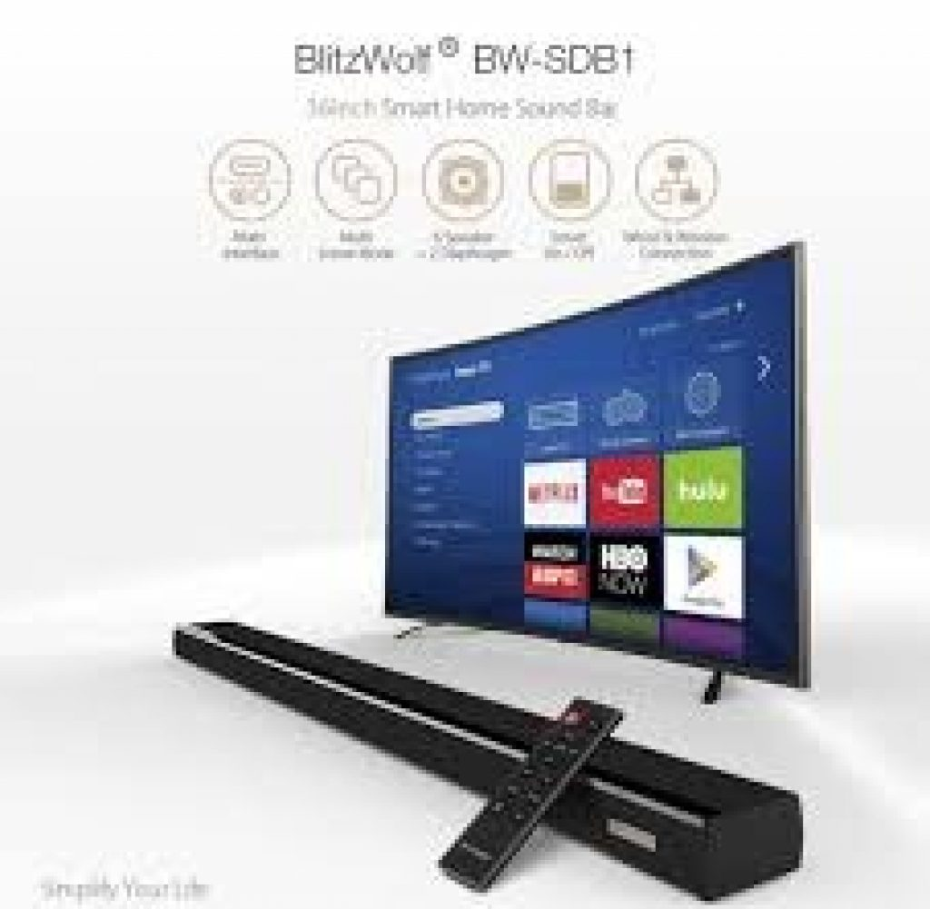 BlitzWolf BW-SDB1 Smart Soundbar 2.0 Channel Wired//Wireless  Audio Speaker HDMI