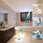 HESSION Rechargeable Cordless Floor Cleaner Brush - EU PLUG BLUE AND WHITE, gearbest