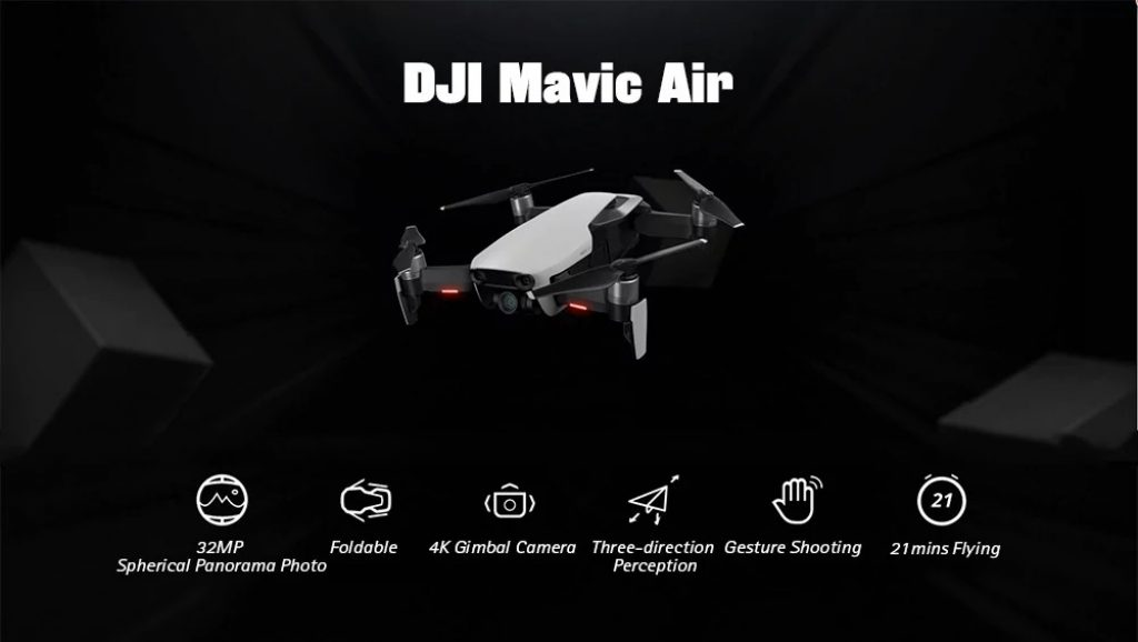 408285da443 banggood, gearbest, DJI Mavic Air RC Drone 32MP Sphérique Panorama Photo -  WHITE FLY