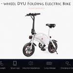 coupon, gearbest, F - wheel DYU D2 Folding Electric Bike 5.2Ah Battery EU Plug - WHITE