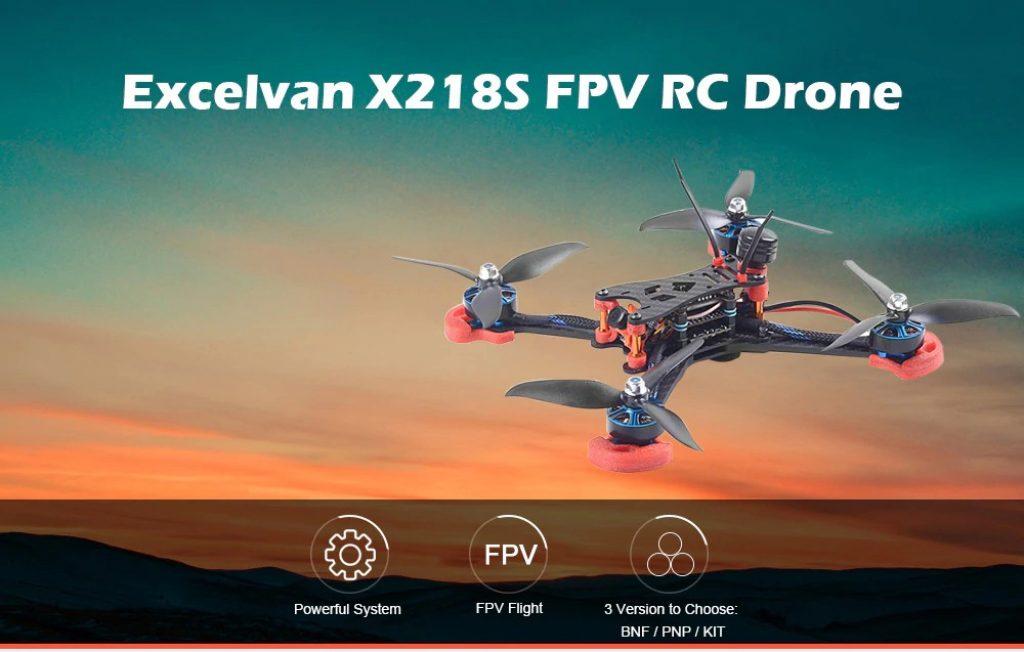 gearbest, Excelvan X218S BLHeli - S F4 600TVL Camera FPV RC Drone - BLACK BNF ( FRSKY RECEIVER )