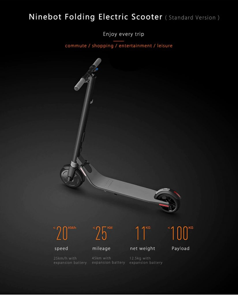 gearbest, banggood, Ninebot ES1 No. 9 Folding Electric Scooter from Xiaomi Mijia - BLACK, coupon, GearBest