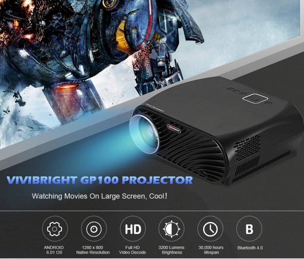 gearbest, VIVIBRIGHT GP100 LCD Home Theater Cinema Projector - BLACK EU PLUG