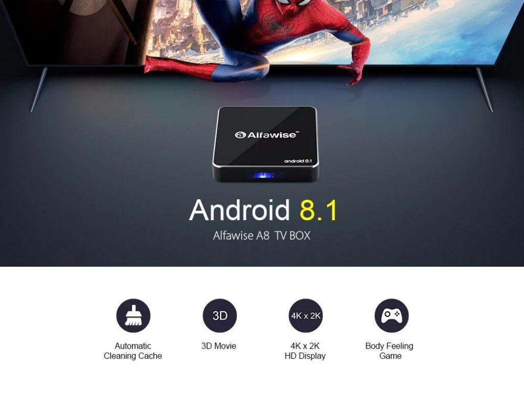 phiếu giảm giá, gearbest, Alfawise A8 TV BOX Rockchip 3229 Android 8.1 - ĐEN EU CẮM