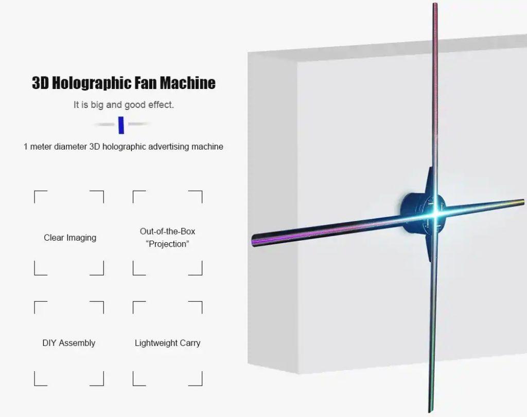 कूपन, गियरबेस्ट, यूटोर FY3D - Z5 1m एलईडी होलोग्रफ़िक फैन विज्ञापन मशीन - काला
