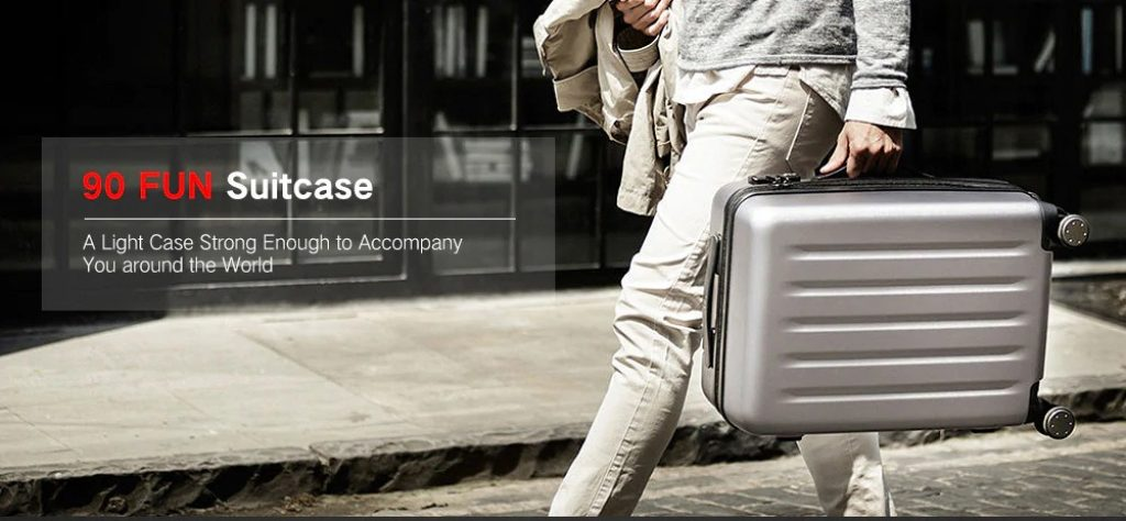coupon, gearbest, Xiaomi 90FUN PC Suitcase with Universal Wheel - BLACK 20 INCH
