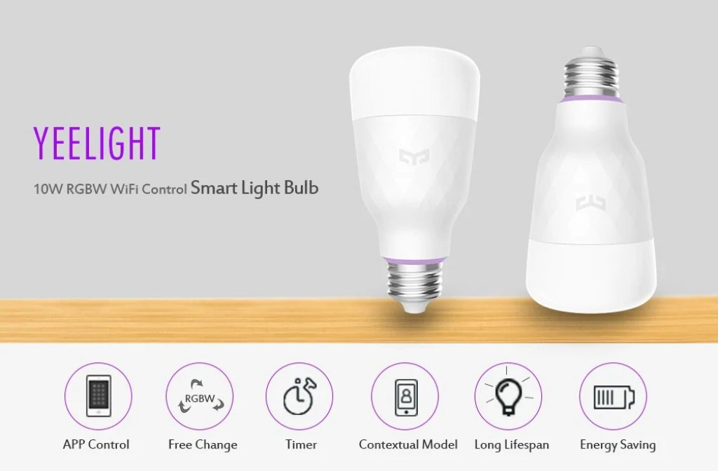 coupon, gearbest, YEELIGHT Smart Light Bulbs 10W RGB E27 2pcs