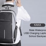 coupon, gearbest, KAKA Waterproof USB Charging Laptop School Backpack