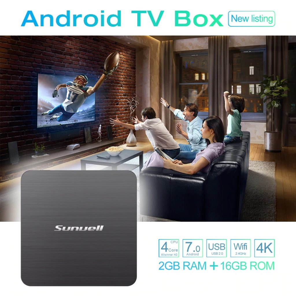 Sunvell H3 4K TV Box 2.4GHz WiFi Allwinner H3 Android 7.0 Quad Core 2GB 16GB