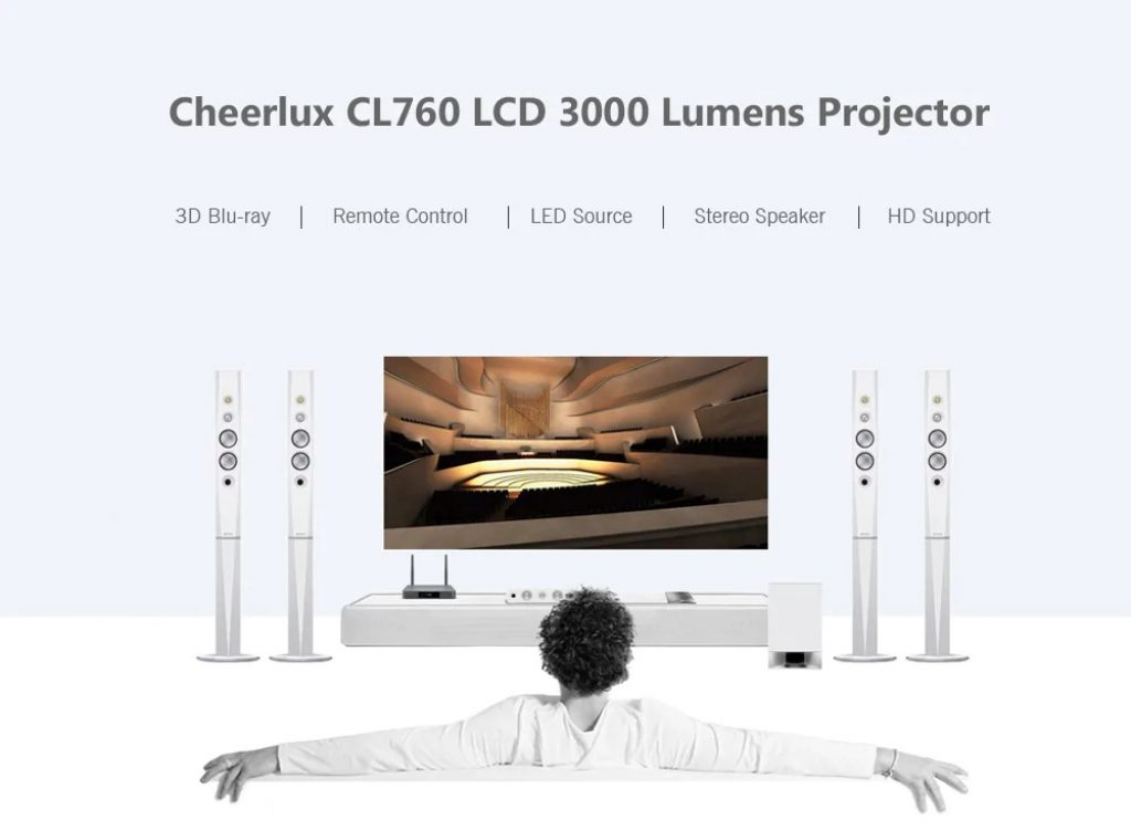 coupon, gearbest, Cheerlux CL760 3000 Lumens Lumens LCD Video Projector