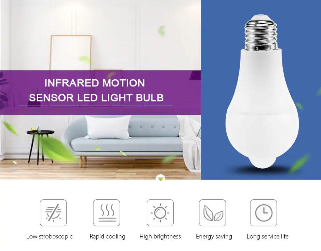 coupon, gearbest, Infrared Motion Sensor LED Light Bulb Lamp Screw Base for Indoor Lighting