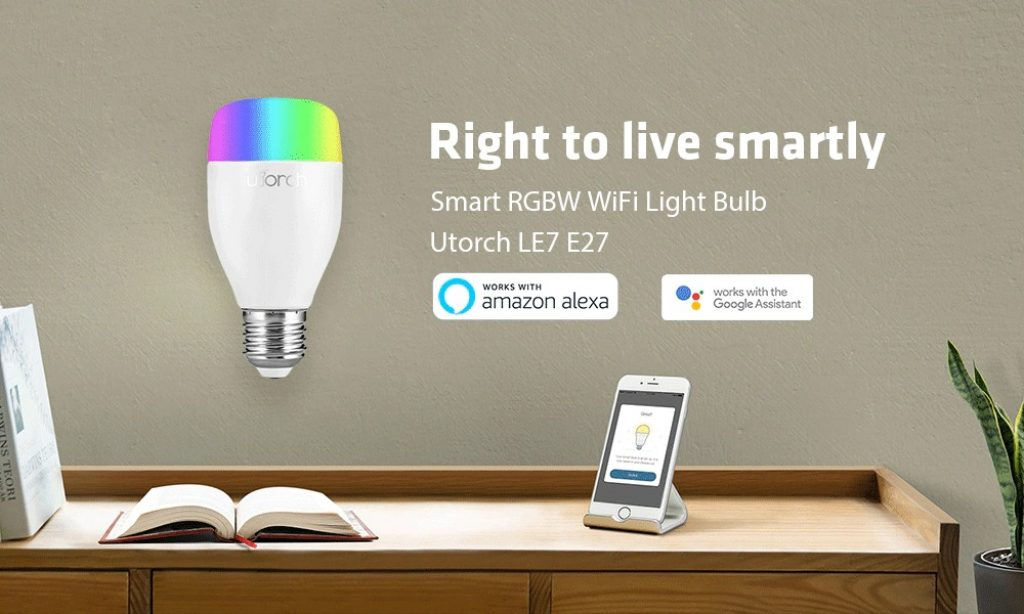 coupon, gearbest, Utorch LE7 E27 WiFi Smart LED Bulb App Voice Control