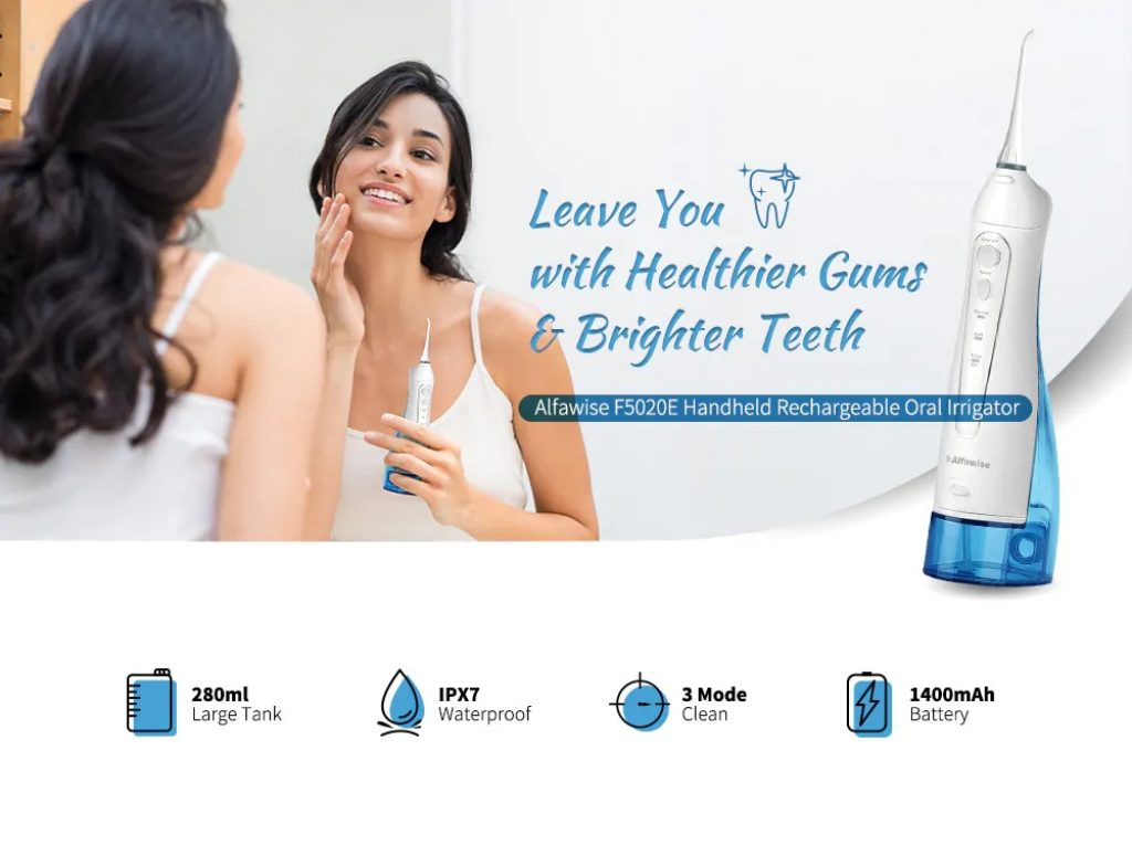 coupon, gearbest, Alfawise F5020E Handheld Rechargeable Oral Irrigator