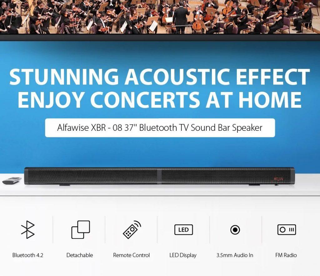 쿠폰, gearbest, Alfawise XBR - 08 TV 사운드 바 블루투스 4.2 스피커