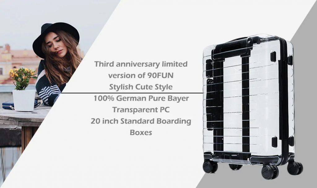 coupon, gearbest, Xiaomi Youpin 90FUN Stylish Suitcase 33L Capacity PC Material