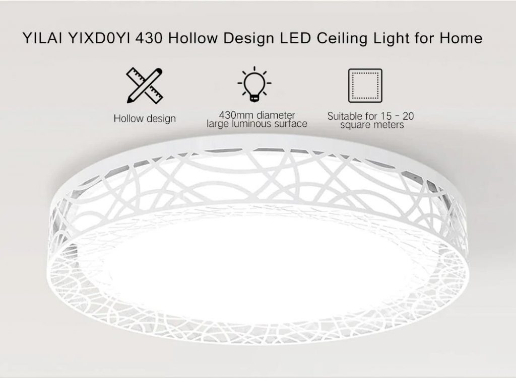 coupon, gearbest, Yeelight YILAI YIXD0Yl 430 Hollow Design LED Smart Ceiling Light for Home