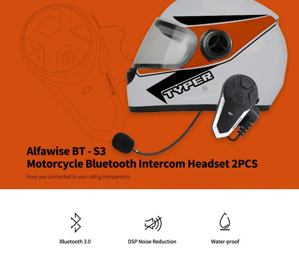 쿠폰, gearbest, Alfawise BT - S3 오토바이 블루투스 인터컴 헤드셋