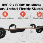 coupon, gearbest, H2C 2 x 800W Brushless Motors 4-wheel Electric Skateboard
