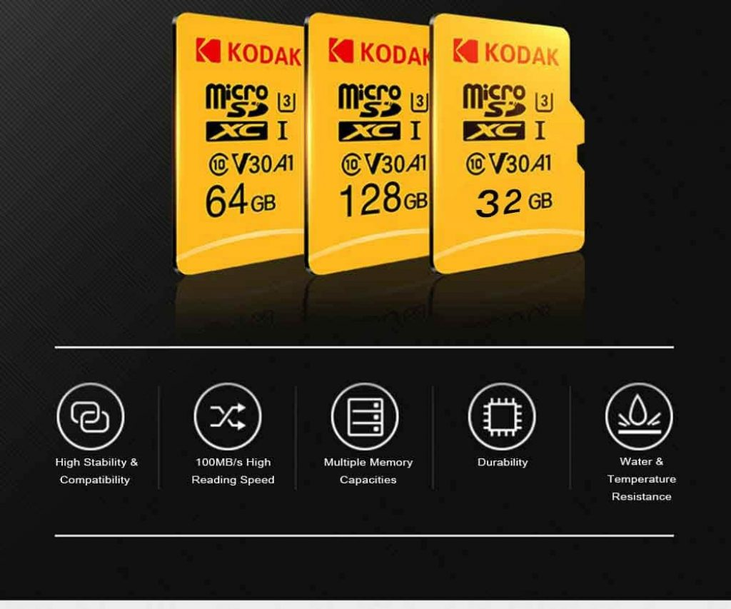 クーポン、ギアベスト、コダック高速U3 A1 V30 TFマイクロSDメモリーカード128GBサポート4K