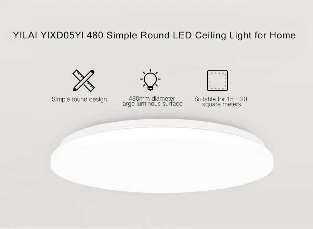 coupon, gearbest, Yeelight YILAI YlXD05Yl 480 Simple Round LED Smart Ceiling Light for Home