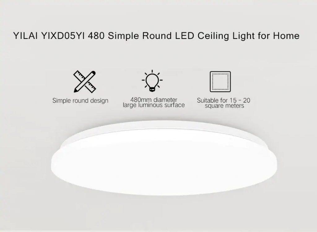 쿠폰, gearbest, Yeelight 가정용 간단한 라운드 LED 스마트 천장 조명 YILAI YlXD05Yl 480