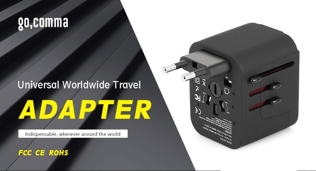 coupon, gearbest, gocomma Universal Travel Adapter with 4 USB Ports