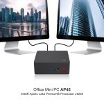 AP45 J4205 Office Mini PC - BLACK 8GB LPDDR4 + 128GB SSD EU PLUG, coupon, GearBest