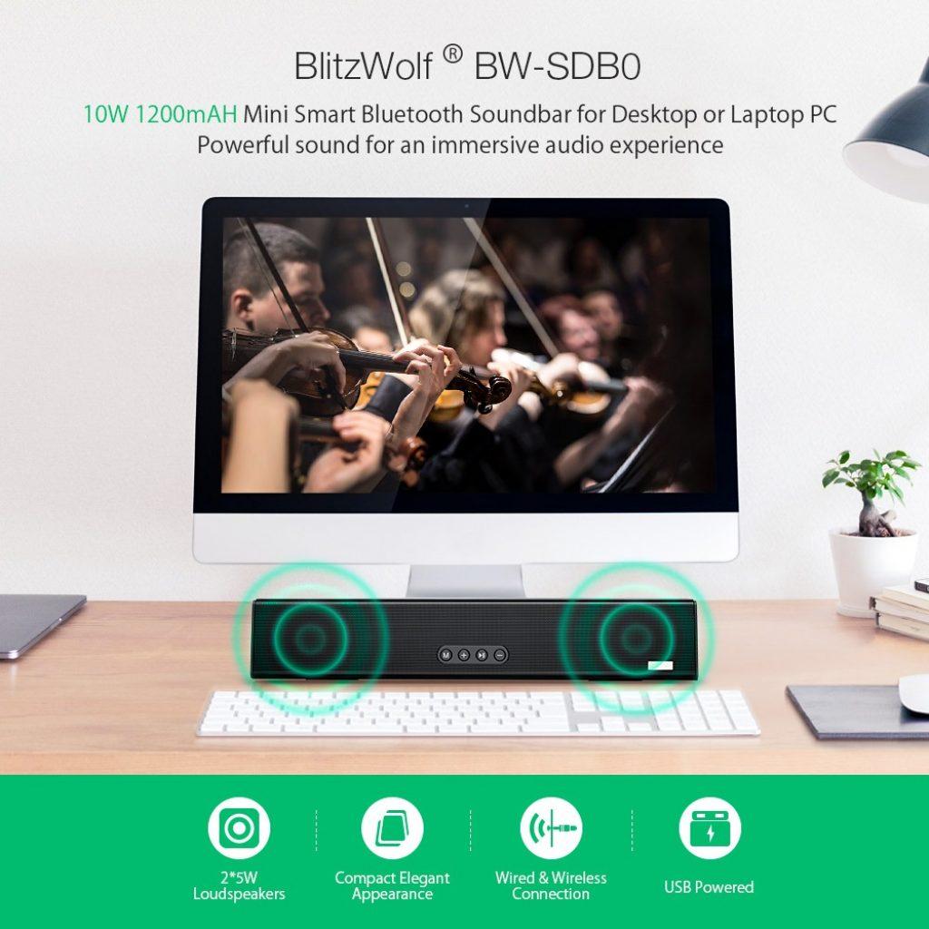Blitzwolf® BW-SDB0 10W 1200mAH Mini Smart Bluetooth Soundbar for Desktop or Laptop PC, coupon, BANGGOOD