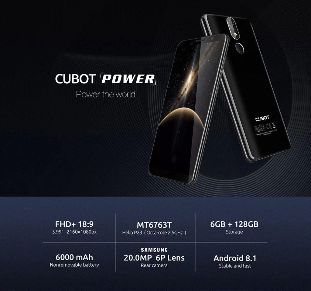 CUBOT POWER 4G Phablet - BLACK, coupon, GearBest