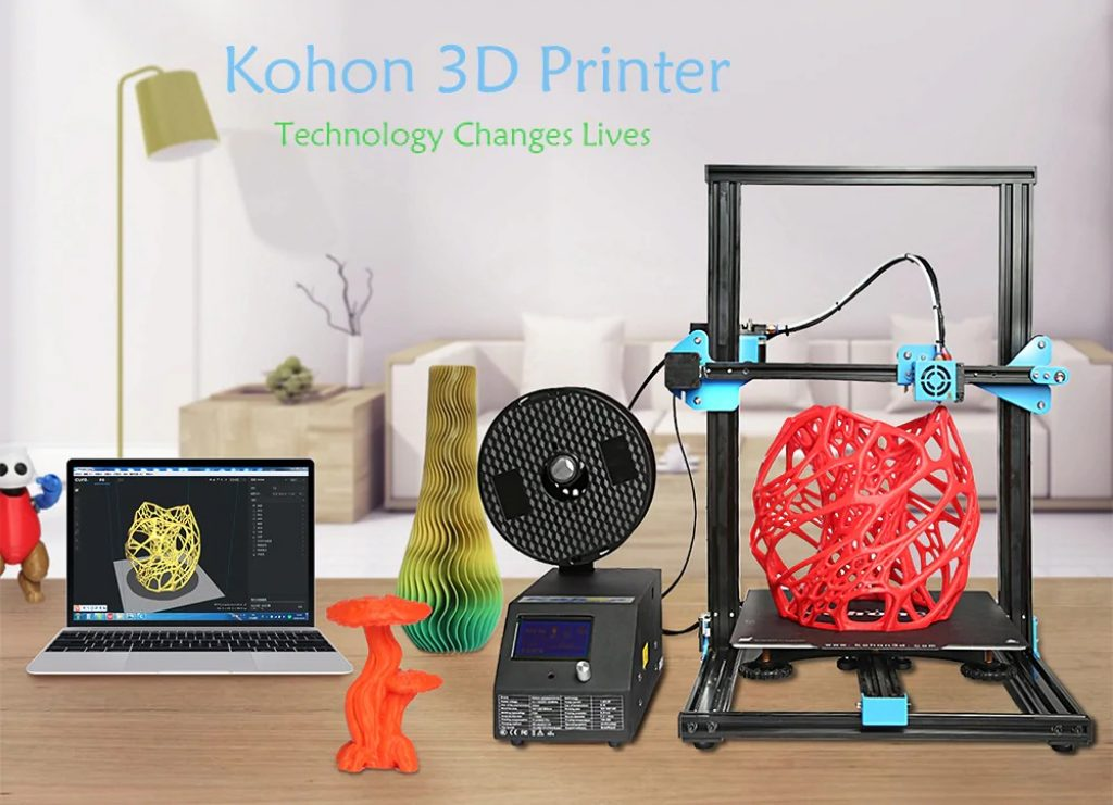 KOHON KH01 Aluminum Alloy Quick Assembly 3D Printer - BLACK EU PLUG, coupon, GearBest