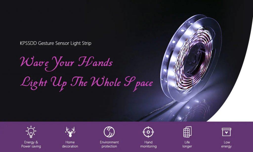 KPSSDD Gesture Sensor Light Strip - WHITE 1PC, coupon, GearBest