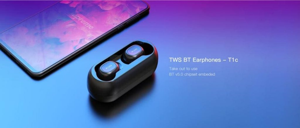 gearvita, tomtop, coupon, gearbest, QCY T1C Wireless In-Ear Stereo Bluetooth 5.0 Earphones Earbuds Headset