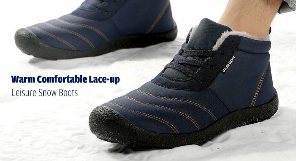 coupon, gearbest, VANCAT Men Warm Snow Boots Comfortable Lace-up