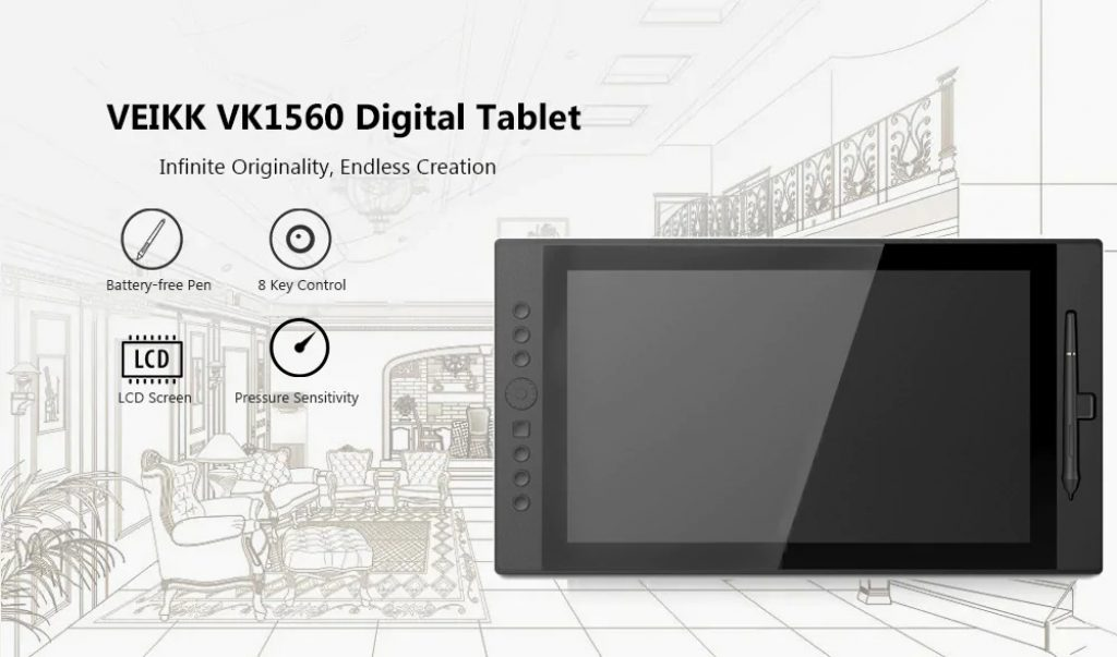 VEIKK VK1560 15.6 inch Digital Tablet LCD IPS Drawing Monitor - BLACK EU PLUG, coupon, GearBest
