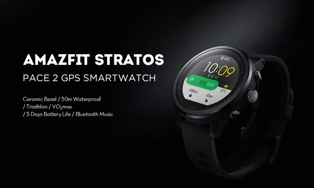 Xiaomi Amazfit Stratos Pace 2 Smartwatch Global Version - BLACK, coupon, GearBest