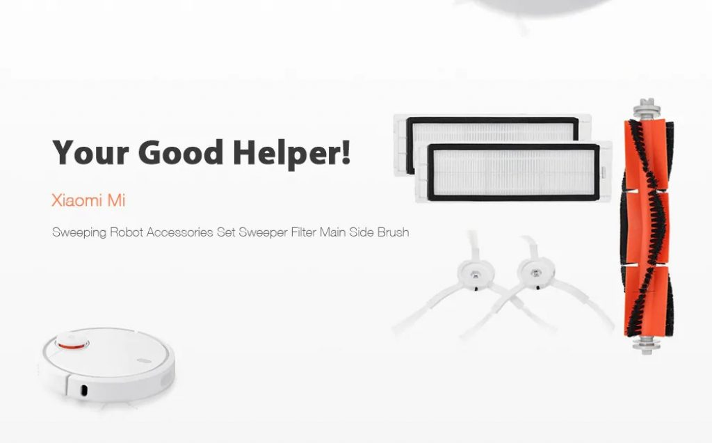 coupon, gearbest, Xiaomi Mi Sweeping Robot Accessories Set Sweeper Filter Main Side Brushes