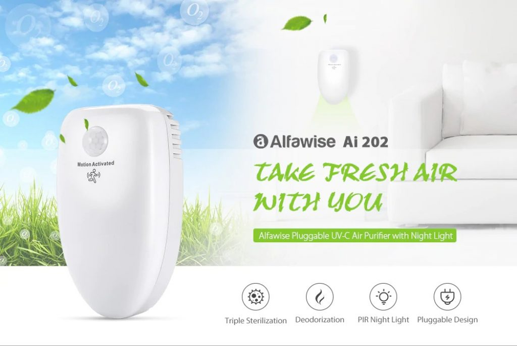 coupon, gearbest, Alfawise Ai 202 Pluggable Air Purifier UV-C Deodorizer Sterilizer with Night Light