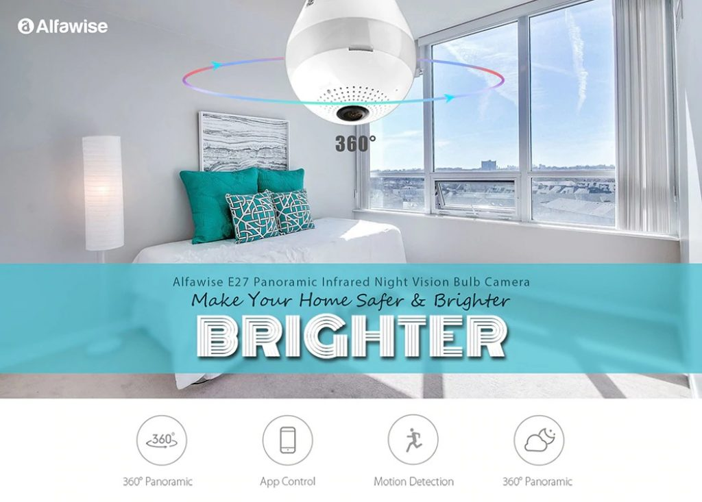 coupon, gearbest, Alfawise E27 Panoramic Infrared Night Vision Bulb Camera