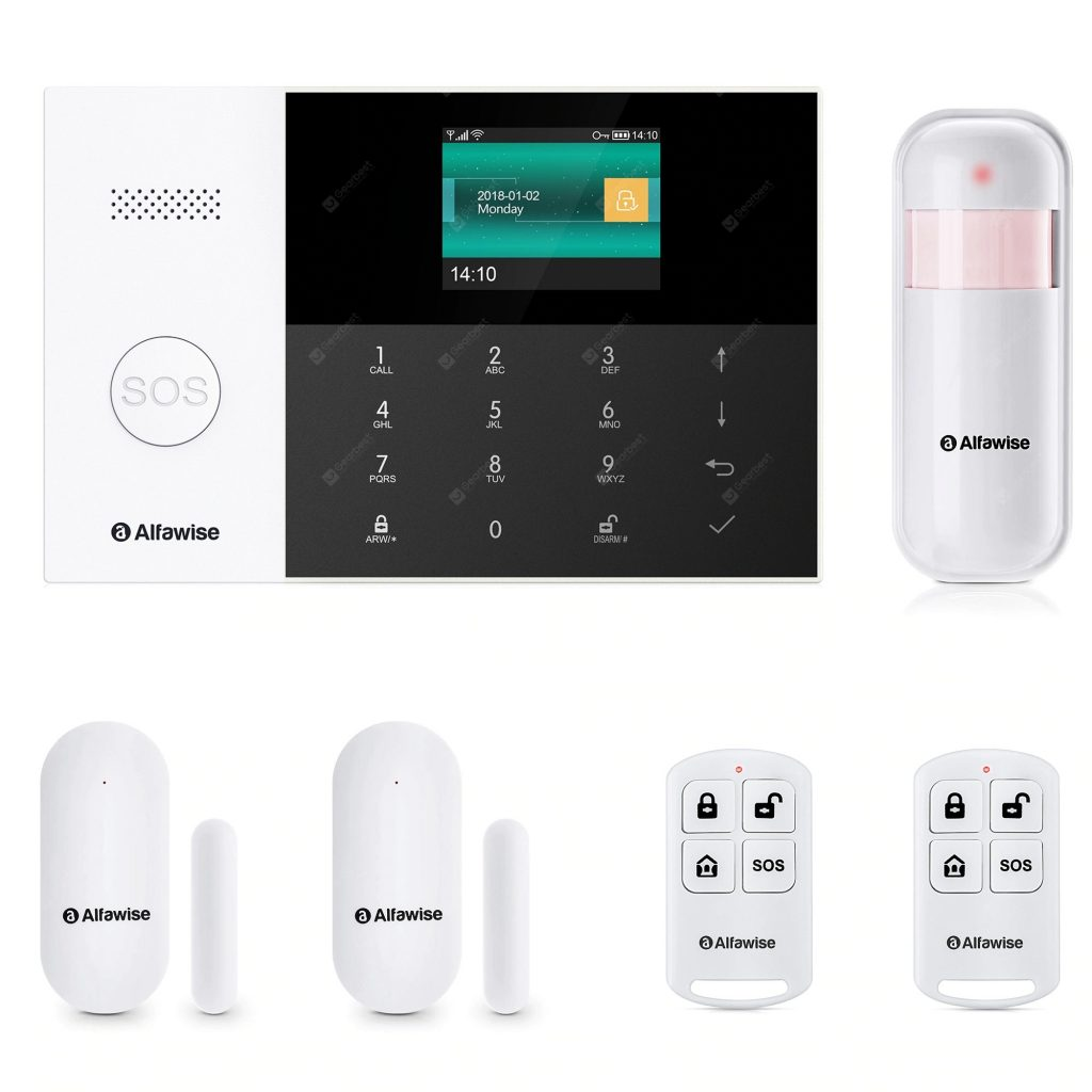 coupon, gearbest, Alfawise PG - 105 GSM WiFi 433MHz Wireless Smart Home Security Alarm System DIY Kit