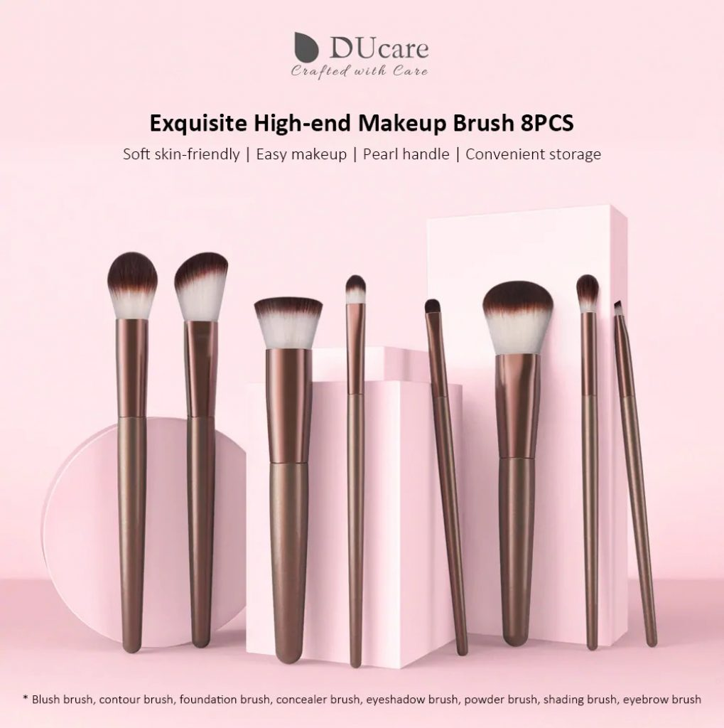 COUPON, GEARBEST, U802 - B - XM Exquisite High-end Makeup Brush from Xiaomi youpin 8pcs - LIPSTICK PINK