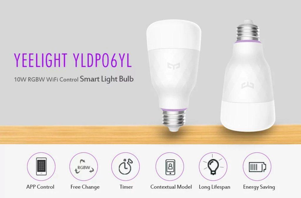 banggood, geekbuying, phiếu giảm giá, bóng đèn thông minh Xiaomi Yeelight YLDP06YL