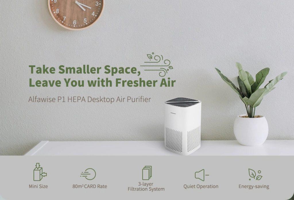coupon, gearbest, Alfawise P1 HEPA Mini Desktop Air Purifier