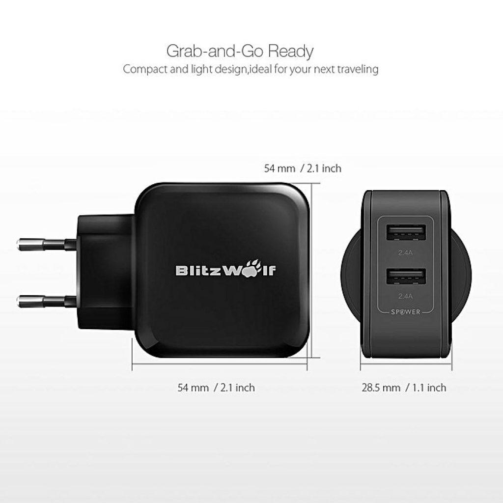 kupón, banggood, BlitzWolf® BW-S2 4.8A 24W Dual EU USB nabíjačka