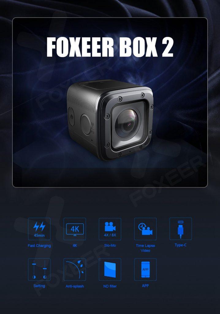 coupon, geekbuying, Foxeer Box 2 4K 30Fps ND Filter FOVD 155 Degree Lens Waterproof FPV Action Camera