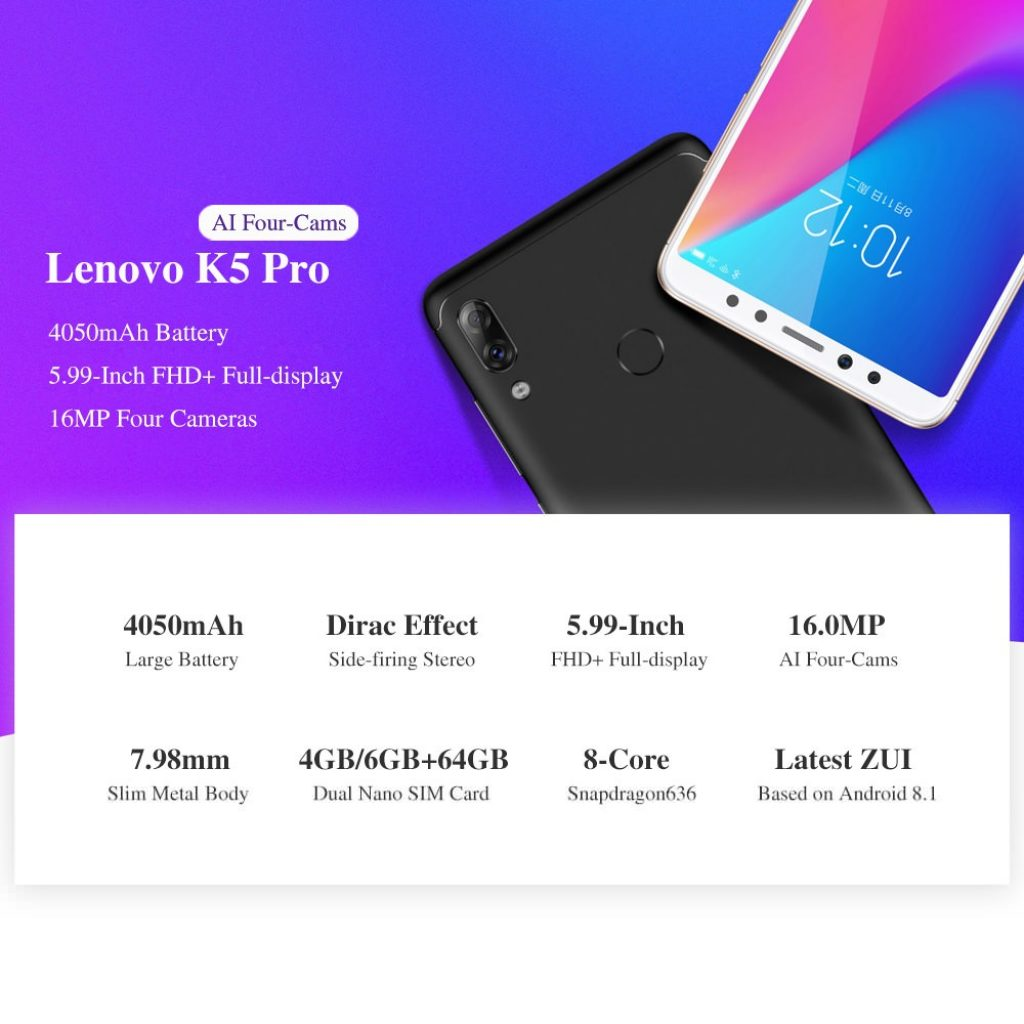 kupon, gearvita, Smartphone Lenovo K5 Pro 4G