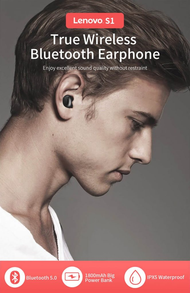 coupon, gearvita, Lenovo S1 TWS Wireless Bluetooth Earphone